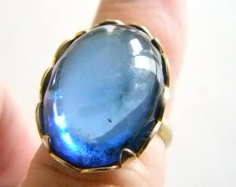 Emmons Moonglow Ring  - Vintage designer Signed Oval Royal Blue Cabochon  Size 6