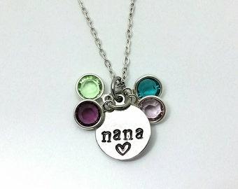 Nana and grandkids birthstone necklace,Personalized christmas gift for nana,Gift for nana,Grandkids birthstone jewelry,Nana necklace