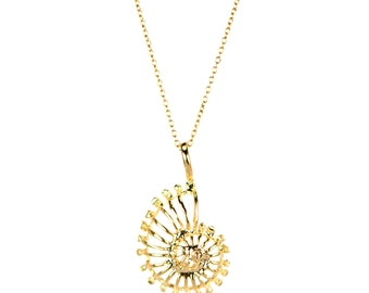 Ammonite necklace - gold shell necklace - spiral necklace - spiral necklace - a 22k gold overlay ammonite shell on a 14k gold vermeil chain