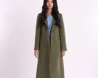 Minimal Single One-Button Long Coat_Olive-Khaki