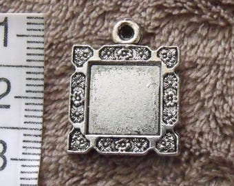 silver pendant, set of 6, square, for cabochon 12mmx12mm