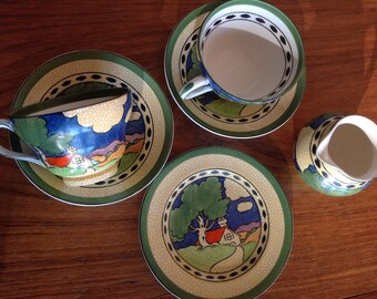 Art Deco tea set rare 'Countryside' pattern by Booths, England - silicon china tea cups - creamer -
