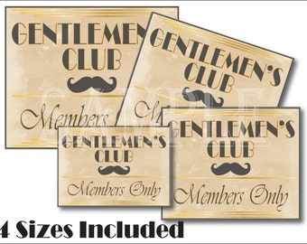 Gentlemen's Club Sign Printable Set Members Only 4 Sizes Bachelor Party Whiskey Party Speakeasy Roaring 20s Gatsby Prohibition Theme Wedding