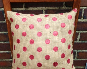 Red Polka Dot Burlap Pillow Cover Burlap Accent Pillow Zippered Pillow Pillow Cottage Chic Home Decor  Cover Country Wedding Pillow