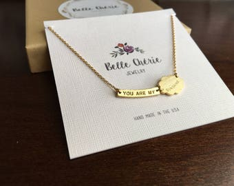 Gold Charm Necklace With You Are My Sunshine