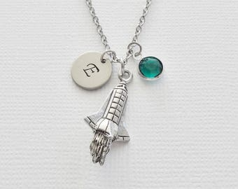Rocket Necklace 3D Charm Space Shuttle Space Plane Jewelry Swarovski Birthstone Silver Initial Personalized Monogram Hand Stamped