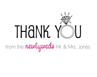 """Thank you card set - """"from the newlyweds"""" (set of 20 cards & envelopes / formal fonts)"""