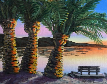 The Perfect Bench Original Acrylic Painting/California Palm Trees at Sunset
