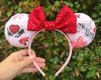 Ready-To-Ship - Red and Pink Love Cupid Minnie Mouse Ears