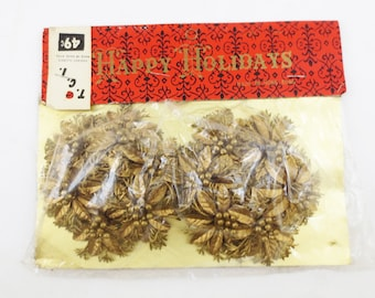 Vintage Christmas Candle Rings NOS in Package Retro Holiday Decor Gold
