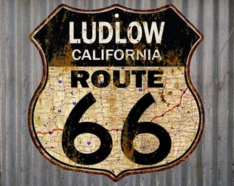 Ludlow, California Route 66 Vintage Look Rustic 12X12 Metal Shield Sign S122066