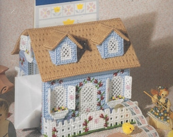 90s Country Cottage Mail Center Bucilla Plastic Canvas Kit 6078 Designed by Virginia & Michael Lamp NIP 7 Inches High Mail and Stamp Holder