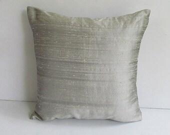 gray pillow. Dupioni silk  pillow cover. Decorative  Row silk. Cushion cover. Festive pillow. Luxury home decor  Custom made