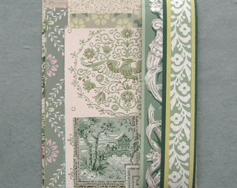 Green Vintage Wallpaper Scrap Pack 16 Pieces for Collage Scrapbooking Papercrafts