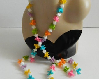 Vintage 1960s Extra Long Colourful Bead Necklace