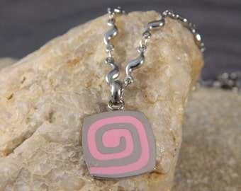 Pink Enameled Spiral Stainless Steel Necklace