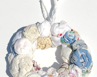 Hankie Babies --  Margo style decorative wreath vintage hankie and doily rosettes hand sewn Made to Order Wholesale Avail