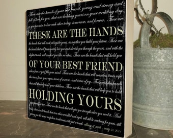 Blessing of the Hands, Gifts for the Bride, Gifts for the Groom, Anniversary Gift, Gifts for Her, Unique Wedding Gift, 15 x 15