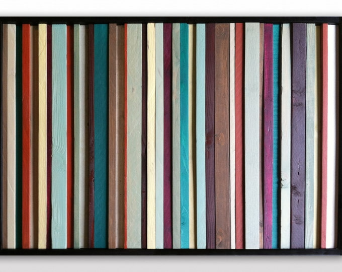 "Modern Wood Wall Art - ""Spanish Wildflower""- Reclaimed Wood Art in Greens, Red, Purple - Wood Wall Sculpture - Abstract Wood Art"