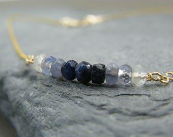 Sapphire gold necklace ~ September birthstone ~ Ombre Sapphire Necklace ~ Genuine sapphire necklace ~ Gold sapphire necklace ~ Gift for her