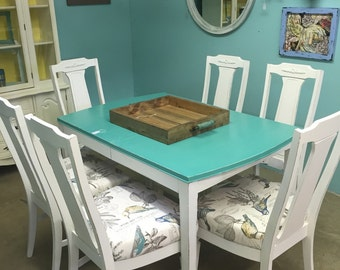 Teal And White Dining Table Set