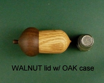 """Wood Acorn Thimble Case WALNUT Lid and OAK Case. It measures approximately 2 1/4"""" long and 1 1/4"""" in diameter +/- 1/8""""."""