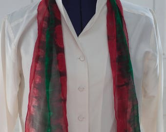 Silk Shibori Scarf - Hand Dyed Silk Scarf - Red and Green  - Vertical Stripes - Gift for Her