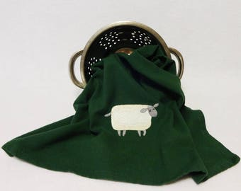 Sheep Hand Towel,Green Sheep Towel, Cotton Hand Towel, Embroidered Towel, Sheep Towel, Embroidered Sheep Towel