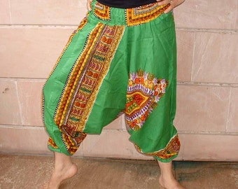 Harem pants.....green color with floral screen print