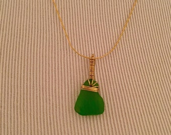 Green and Gold Sea Glass Necklace