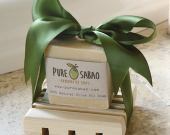 Natural White Olive Oil Soap + Tray