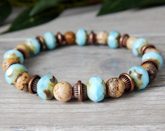 Earthy Jewelry, Light Blue Bracelet, Blue and Brown Bracelet, Blue Bracelets, Gemstone Bracelet,  Boho Bracelet, Earthy Bracelet, Nature