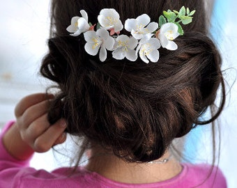 white flower comb Hair floral comb wedding headpiece blossom hair pin white cherry bridal comb wedding hair flower women floral comb