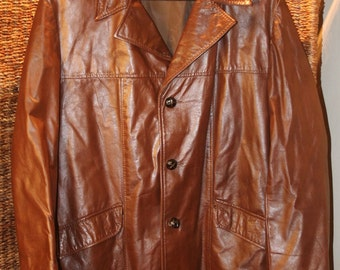 Vintage Late 70's Early 80's Genuine Leather Jacket Size Large / 42 R