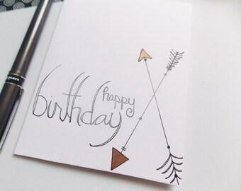 Arrow Birthday Card - Happy Birthday Card - Birthday Card For Her - Birthday Card For Girl - Handlettered Birthday Card - Simple Card
