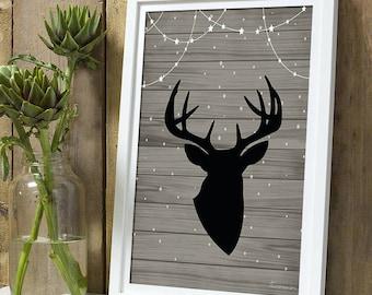 Christmas * poster deer wood A4 unframed