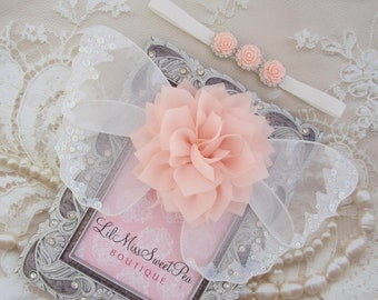 Peachy Pink and white glitter wings, purchase headband only, wings only or the set - for newborn photos, photo prop,  Lil Miss Sweet Pea