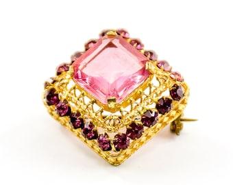 Vintage Brooch, Czecho Signed Brooch, Pink Rhinestone Brooch, Domed Brooch, Gift For her, Mom Gift, Grandma Gift, Girlfriend Gift