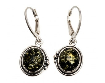 Green Baltic Amber Silver Earrings