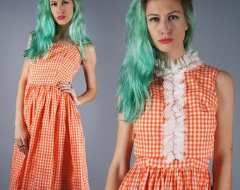 50s Gingham Dress 1950s Cotton Dress Orange and White Gingham Ruffle Front 2 Piece Dress