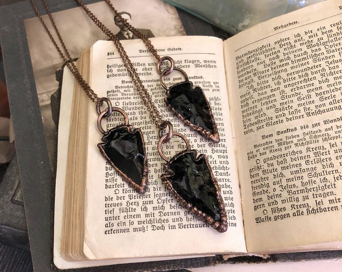 Obsidian Necklace Large Black Crystal Necklace / Large Arrowhead Crystal Pendant / Long Layering Big Statement Necklace Gothic Jewelry