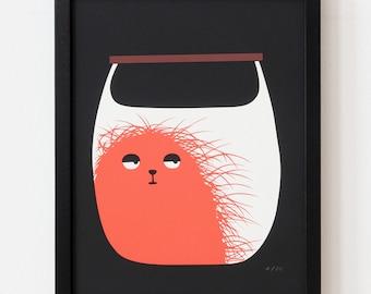 Silkscreen, Illustration, Art, Print, Monster in a bag, pocket monster, handbag