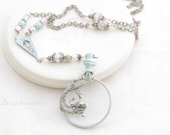 Koi Fish Magnifying Glass Pendant Necklace with Pale Blue Patina, Art Nouveau Optical Lens Necklace, Light Blue Crystal Monocle Pendant