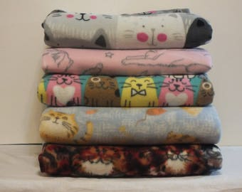 Fleece & Crushed Panne Velvet Cat Themed Throw Blankets