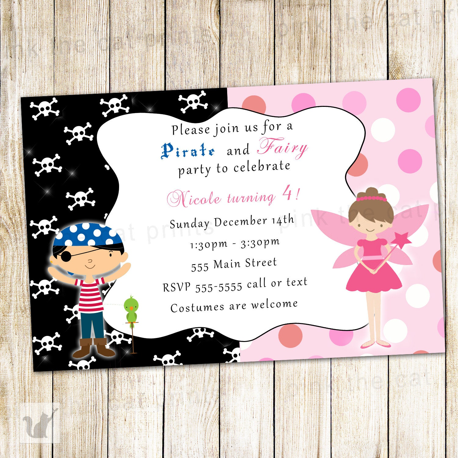 Fairy Pirate Invitation Kids Costume Party Invite Pixie