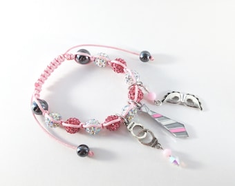 Fifty shades of Grey bracelet raspberry pink and clear AB Rhinestone charms with mask, tie and handcuffs