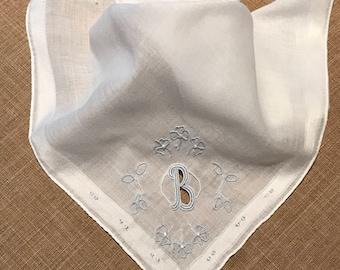 "Vintage ""B"" Monogram Handkerchief, Blue Embroidered ""B"" Monogram, Wedding Handkerchief, Gift for Mom, Bride To Be, Vintage Monogram Linen"