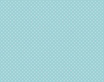 Riley Blake Designs, White Swiss Dot on Aqua  (C670 20)