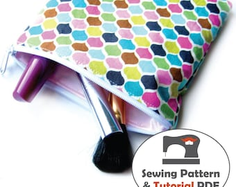 Zippered Waterproof Cosmetic Cases - 4 Sizes - Instant Download Sewing Patterns and Tutorial