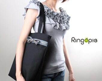 Zipper Tote in Black/shoulder bag/handbag/school bag/tote/casual bag/market bag/marekt bag/women/For Her - 028